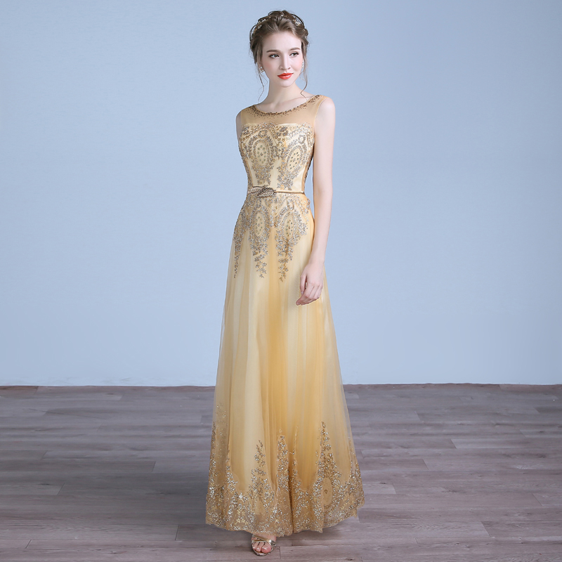 2016 New Luxurious Golden Beading Sexy Backless Long Party font b Dresses b font Banquet Elegant