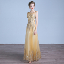 2016 New Luxurious Golden Beading Sexy Backless Long Party Dresses Banquet Elegant Gowns Party Dresses Robe De Soiree Longue