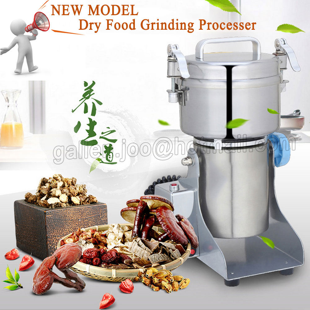 Full Stainless steel Kitchen grinder Grain mill, Small household Electric miller, Superfine powder machine, Dry Food grinder cukyi household electric multi function cooker 220v stainless steel colorful stew cook steam machine 5 in 1