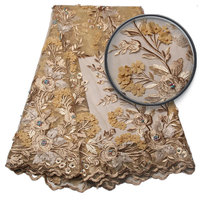New Design African Lace Fabric With Beads Gold Lace Fabric 3D Flower High Quality For Nigerian Lace Fabrics For Dress GD952B 1