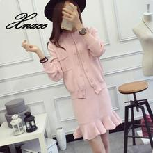 2019 sweater suit dress slim womens autumn and winter new two-piece
