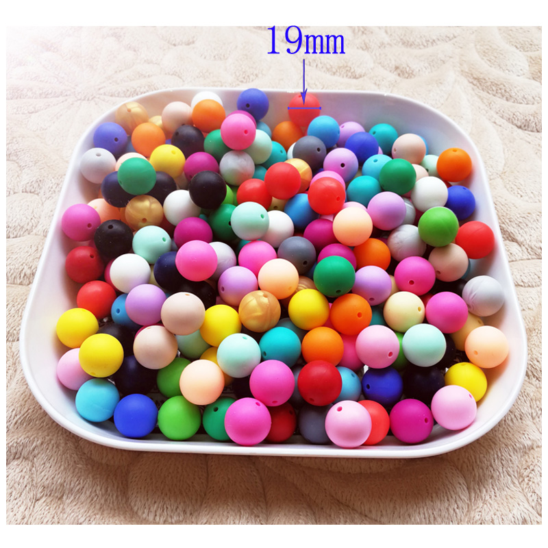 5Pcs Round baby chew jewelry silcone BPA Beads Teethers DIY Necklace 19mm Baby beads Tool Care Necklace Pacifier Chain DIY Toy