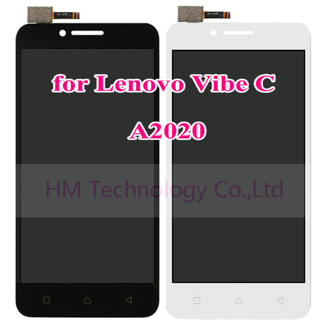 "5.0"" Black LCD+TP for Lenovo Vibe C A2020 A2020a40 LCD Display+Touch Screen Digitizer Assembly Replace Part Free Shipping+Tools"