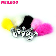 120mm colourful fox tail anal tail erotic toy metal butt plug adult sex toy for man gay couples anal plug tail
