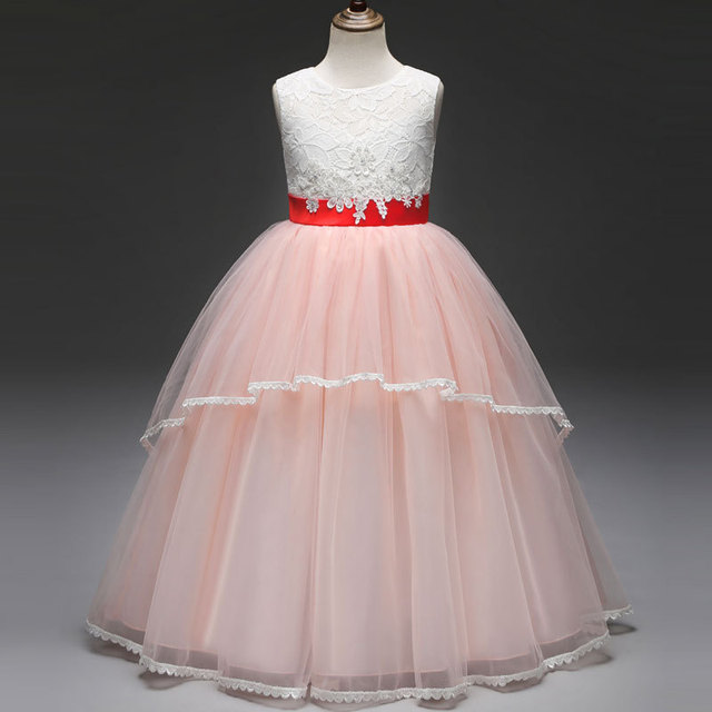 2019 New Tulle Girls Kids Princess Lace Dress Valentine Wear Party ball  grown dance party clothes Ribbon Waist 4b3806f561e5
