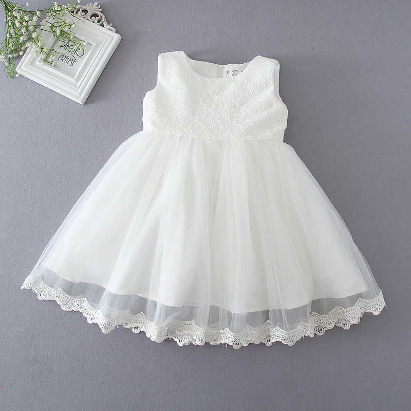 High Quality First Communion Dresses For Girls Sleeveless Princess White Party Wedding Dress Baby Girls Christening Gown DQ263