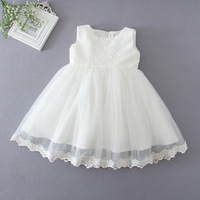 High Quality First Communion Dresses For Girls Sleeveless Princess White Party Wedding Dress Baby Girls Christening