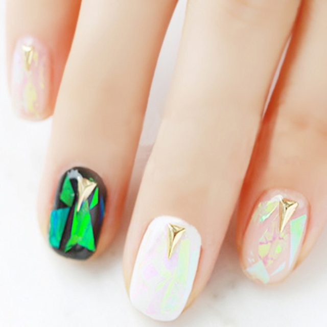 Exceptionnel Shattered Glass Nails DIY Nail Foil Transfer Sticker Rainbow Effect  Background 18Colors Broken Art Decorations