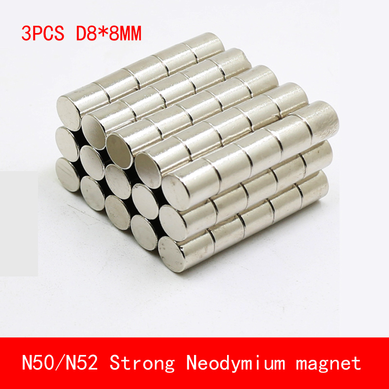 3PCS/lot D8*8mm round N50 N52 Strong magnetic force rare earth magnet  fridge Neodymium 8X8MM|Magnetic Materials|   - AliExpress
