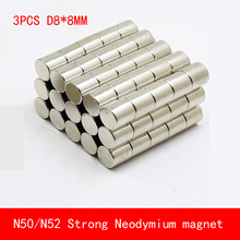 3PCS/lot D8*8mm round N50 N52 Strong magnetic force rare earth magnet  fridge Neodymium 8X8MM