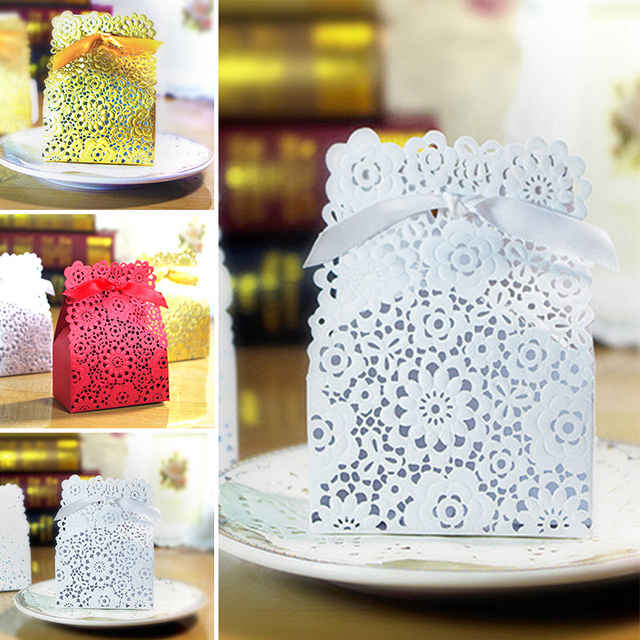 100pcslot Goldredwhite Candy Box Laser Cut Wedding Candy Paper