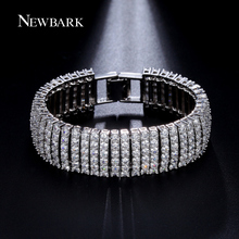 NEWBARK Luxury Sparklin CZ Bracelets For Women Silver Color Bracelet Bangles Femme Bridal Wedding Jewelry Pulseira