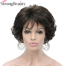 StrongBeauty Short Curly Synthetic Wigs Värmebeständig Full Capless Hair Women Wig