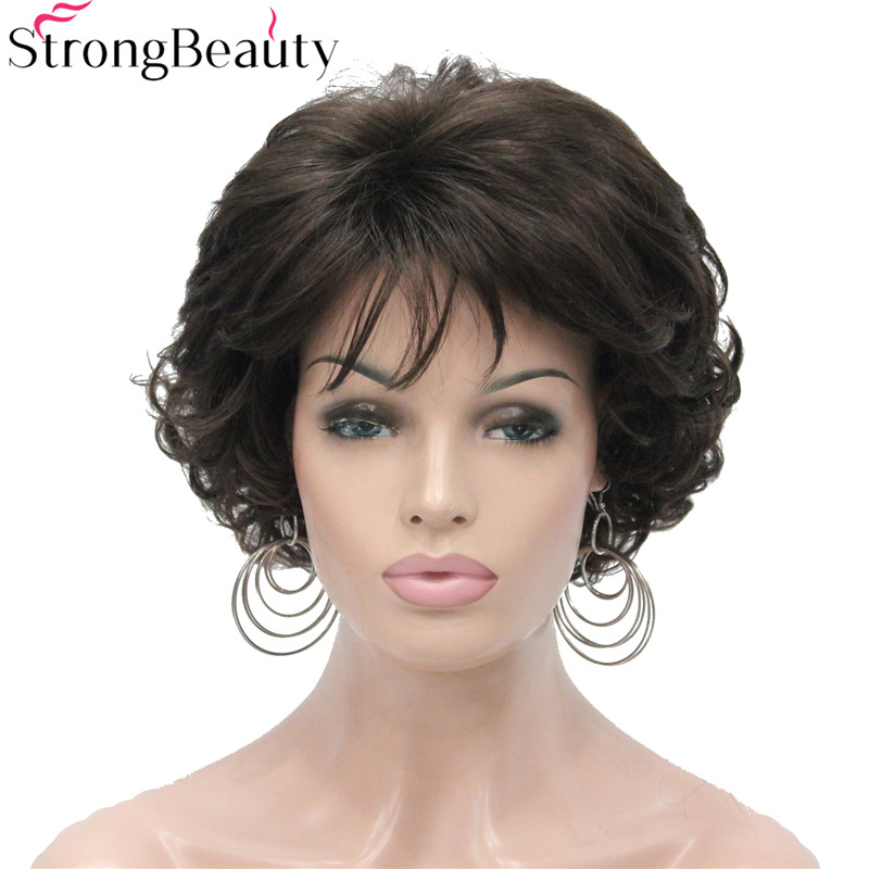 StrongBeauty Short Curly Synthetic Wigs Heat Resistant Full Capless Hair Women Wig