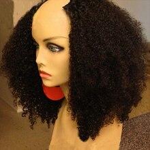 LUFFYHAIR 250% yoğunluk Afro Kinky kıvırcık U parçası peruk moğol Remy insan saçı U parçası peruk Afro bukleler siyah kadın