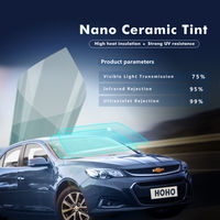 SUNICE Car Sunshade Film Car Window Tint Sticker Decals VLT75% Blue Tint UV Proof Car Windshield Sticker Nano Ceramic 1.52x20mts