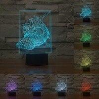 Cute Animal Vision Cartoon Duck 7 Colors Robot Touch Sensor Creative Acrylic 3D Lights LED NightLights