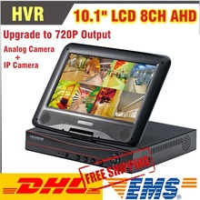 Upgraded 720P Output 10.1 Inch LCD CCTV 8CH DVR/HVR/NVR/AHD All in One DVR 8 Channel Video Recorder Support Analog IP Camera