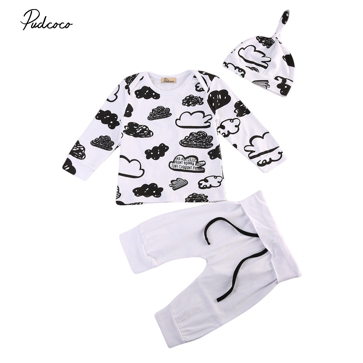 Newborn Infant Baby Suit Girl Boy Cloud Print T Shirt Tops+Pants Outfit Clothes