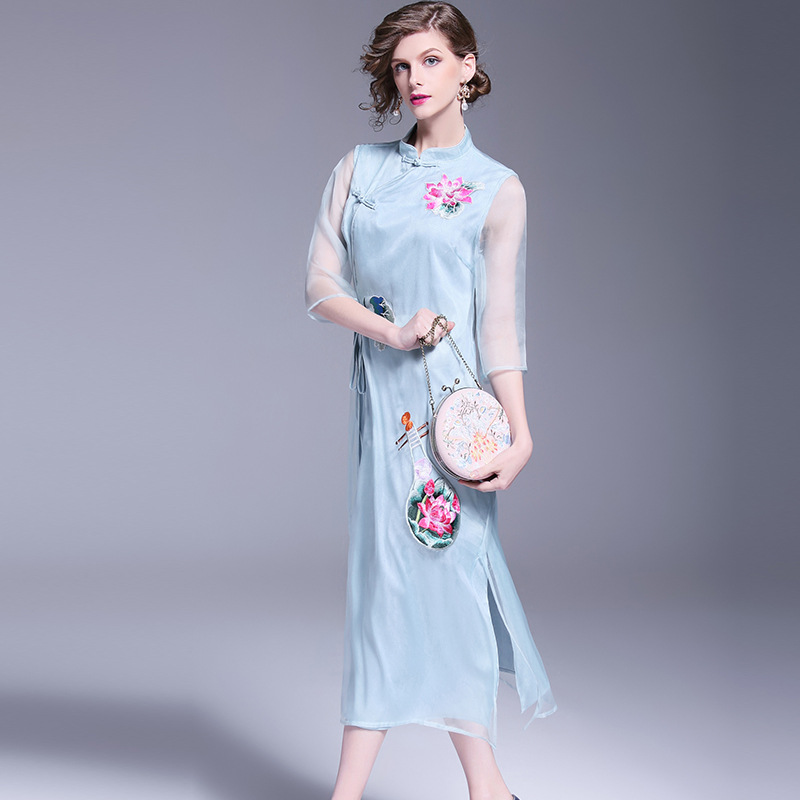 2018 Summer Fashion New Large Size Stand Collar Half Persperctive Sleeve Floral Embroidery Mid Waist Mid-Calf A-Line Dress C635 mid size