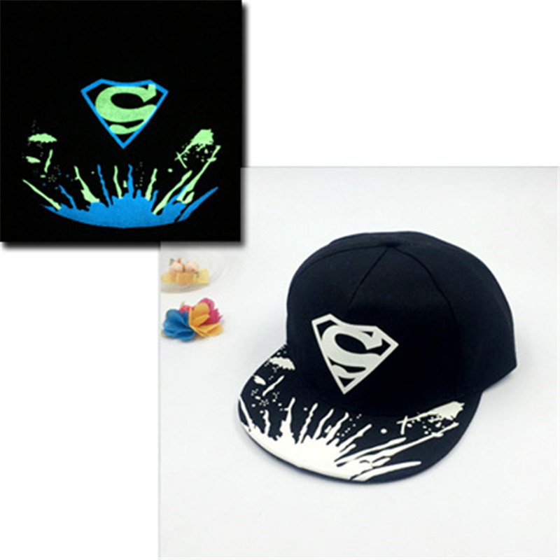 superman Luminous Hat Women Men Fluorescent Baseball Caps girl Light Snapback Cap Glow In The Dark hip hop hats Casquette boy304 brand bonnet beanies knitted winter hat caps skullies winter hats for women men beanie warm baggy cap wool gorros touca hat 2017