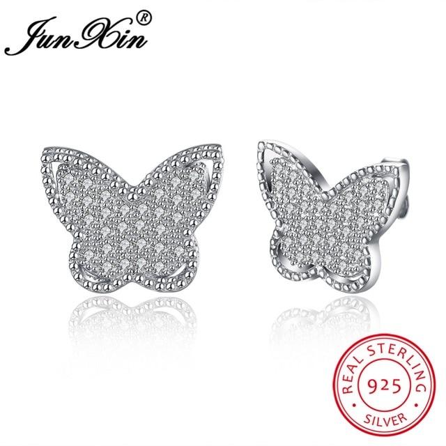 JUNXIN Марка 100% Стерлингового Серебра 925 Бабочка Стад Серьги Мода AAA Циркон Двойные Серьги Для Женщин Новый Год Подарки