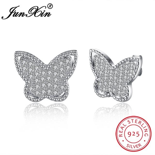 Junxin marca 100% prata esterlina 925 brinco borboleta parafuso prisioneiro zircão moda aaa dupla brincos para as mulheres presentes de ano novo