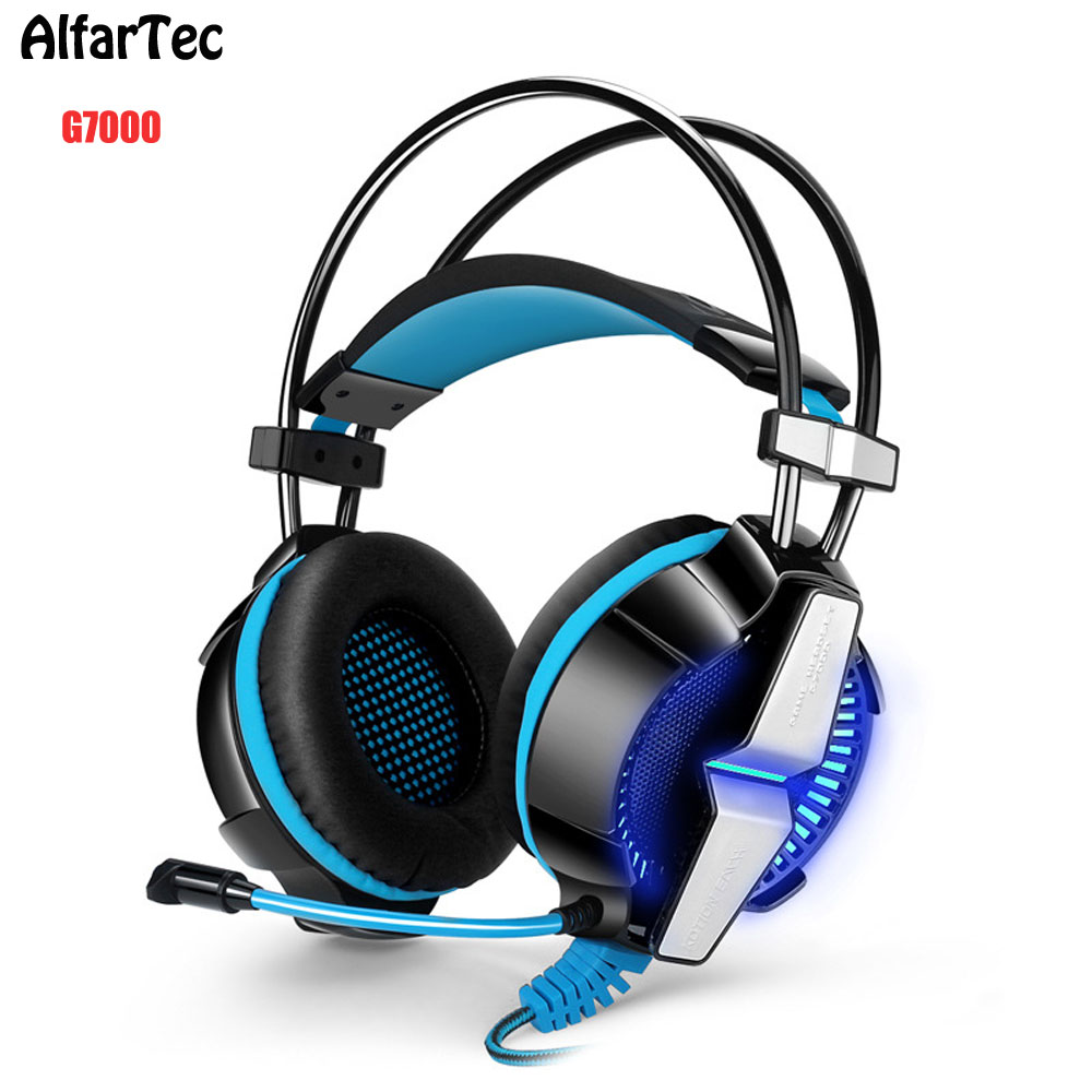 G7000 Professional Computer Gaming Headset With Mic Clear Bass Stereo USB Good For Gift Headphone LED Light Headband For PC each g8200 gaming headphone 7 1 surround usb vibration game headset headband earphone with mic led light for fone pc gamer ps4