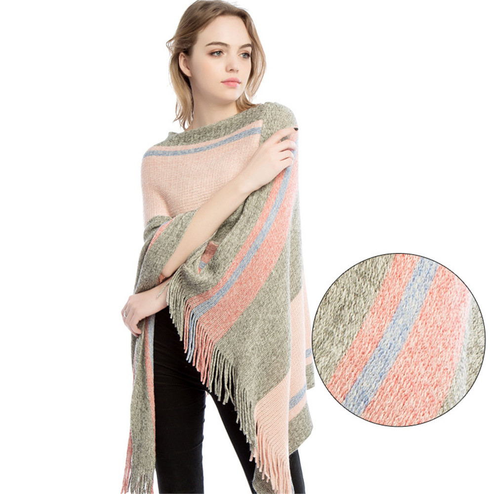Autumn and winter new knitted turtleneck cape shawl female fashion stripes European and American style ladies scarf cloak