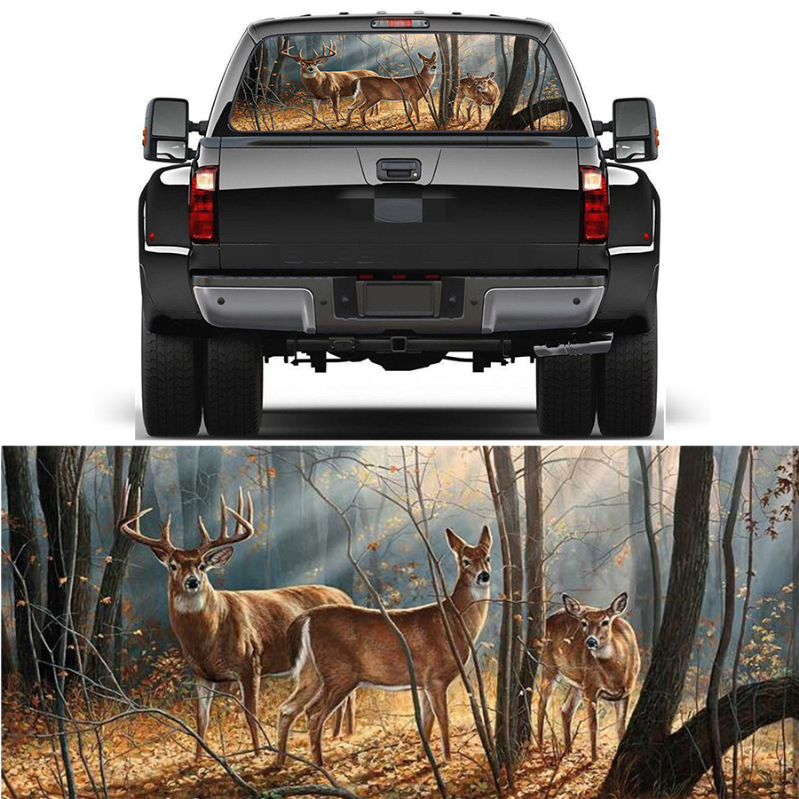 22x65 rear window graphic decal forest animals deer family rear window sticker for truck suv jeep car styling