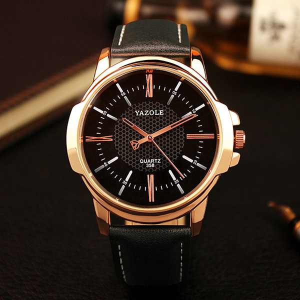 100% New Arrive YAZOLE Brand Luxury Leather Black Brown Rose Gold Shell Wristwatches Wrist Watch for Men Male No.358