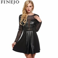 Finejo Women black Net Mesh Synthetic PU Leather Patchwork Dress Casual Long Sleeve A-line Party Pleated Mini Dress s-3xl