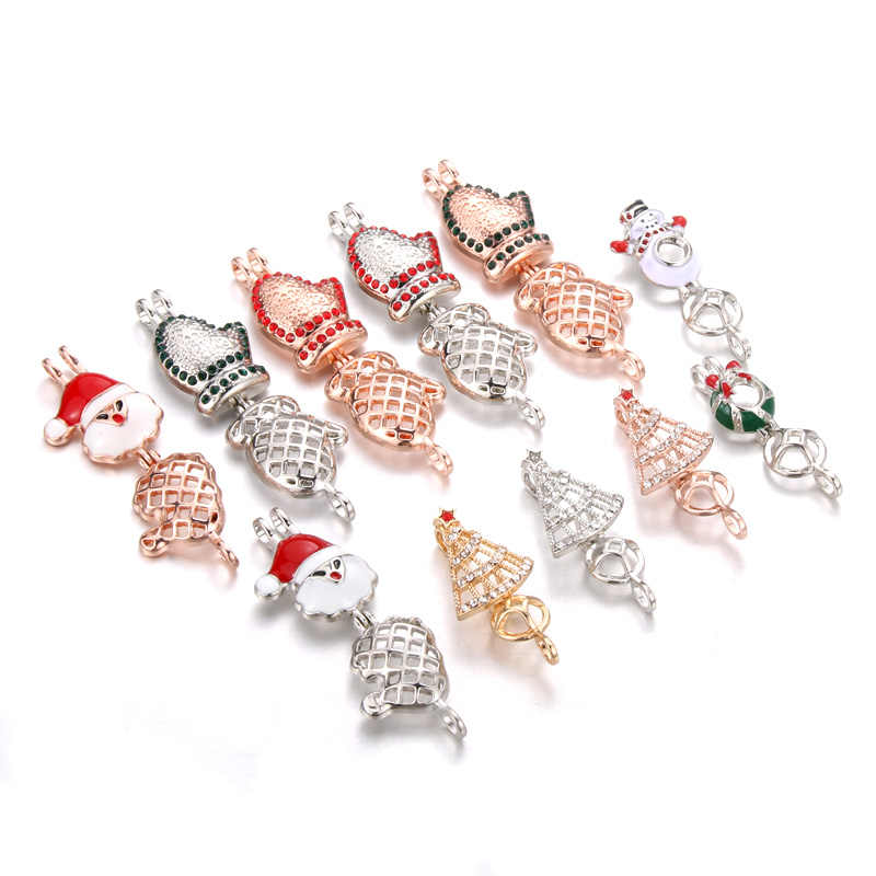 6pcs New Silver Santa Claus Zircon Pearl Cage Locket Pendant Jewelry DIY Bead Cage Aroma Essential Oil Diffuser Oyster Pear