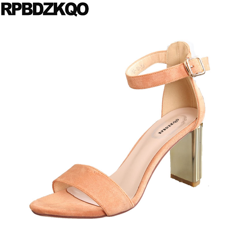 8903e6503e07 Ladies High Sandals Toe Korean Orange Fashion Strap Elegant Summer Women  Thick Pumps Chunky Designer Shoes ...