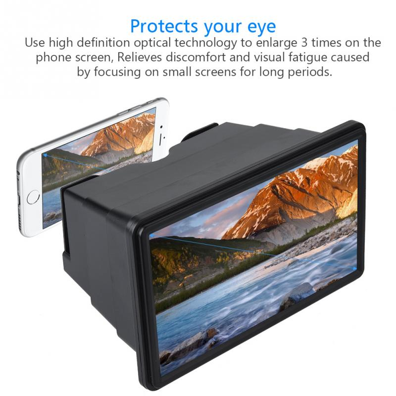 Leisure Tourism Universal 12 Inch Mobile Phone 3D Screen Magnifier Retractable High Definition Screen Amplifier Bracket Enlarged Expander for Mobile Phone Indoor Camping Black