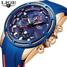 Reloje ใหม่ LIGE แฟชั่น Luxury ซิลิโคน Chronograph ควอตซ์นาฬิกาผู้ชายสบายๆกันน้ำกีฬานาฬิกา