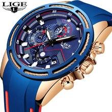 Reloje New LIGE Fashion Mens Watches Top Brand Luxury Silicone Strap Chronograph Quartz Watch Men Casual Waterproof Sport Watch