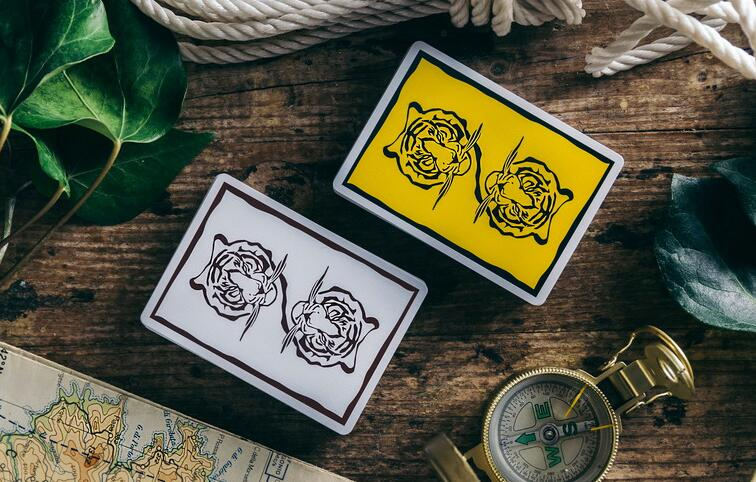 The Hidden King paper Poker set, magic tool playing cards deck Magic Props yellow white collection pokers novelty presents