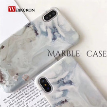 Case For iphone 7 6 6S Cases For iphone 8 X 10 Plus white grey Marble cover Scrub PC Stone coque hard Fundas