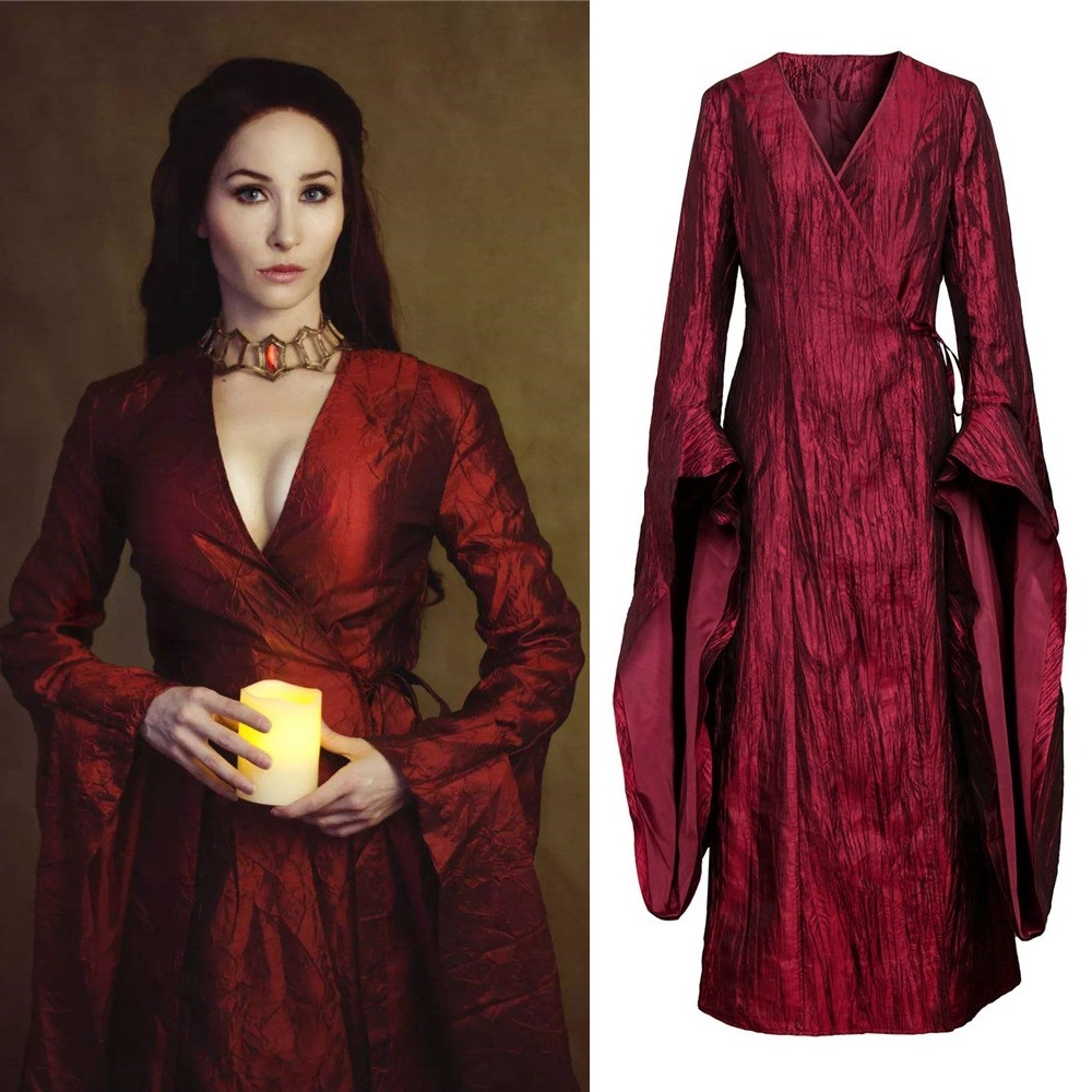 Game of Thrones Season 8 The Final Season Melisandre Cosplay Costume Halloween Costume Party Women Red Long Dress image