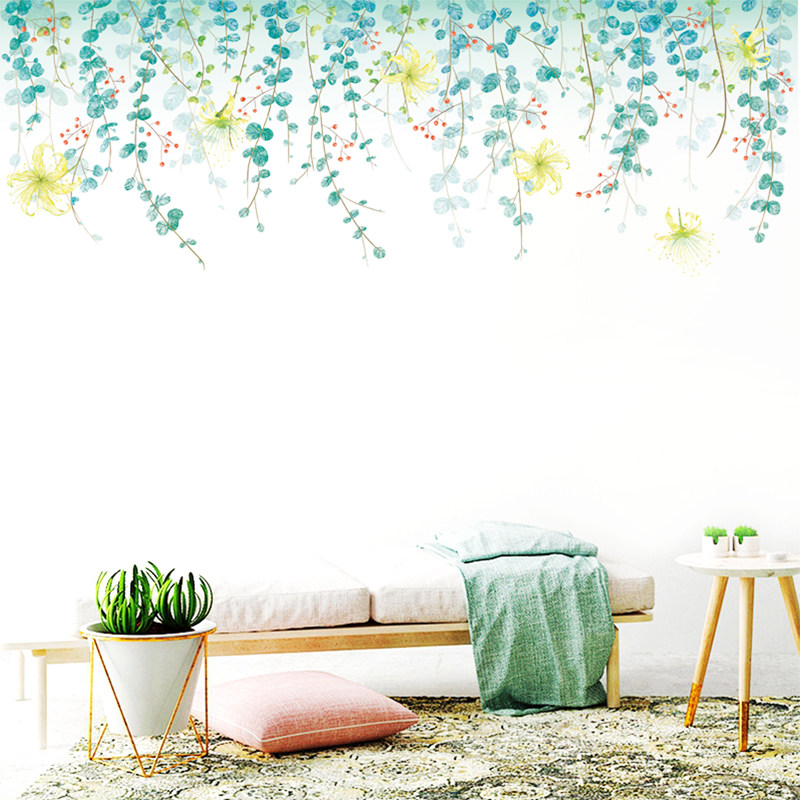 178x58cm Charming Romantic Fresh Green Leaves Wall Sticker for Living Room  Kitchen Flower Wall Decal Bedroom Sofa Decoration Art