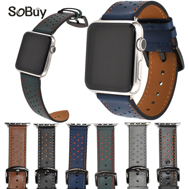 So buy Genuine leather Wrist strap for apple watch iwatch series 1/2/3 band 42mm 38mm bands Wave dot bracelet Cowhide watchband цена и фото