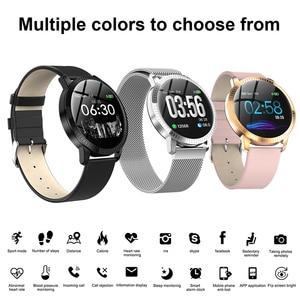 Image 2 - Elegante Smart Uhr Frauen 1,22 zoll Großen Bildschirm Wasserdichte IP67 Herz Rate Blutdruck Tracker Uhr für iPhone 7/Xiaomi