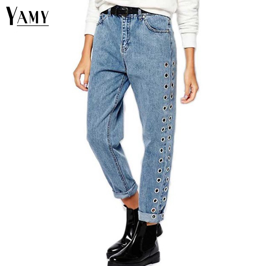 Spring Vintage Casual Loose Boyfriend   Jeans   For Women High Waist   Jeans   Rivet Eyelet Denim Mom   Jeans   Bottoms