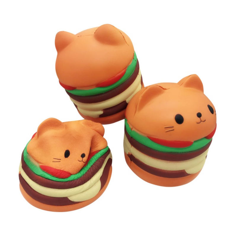Toys For Cat Chew Toys Slow Rising Scented Luky Cat Hamburger Squishy Gift Kawaii Squishies Funny Toys