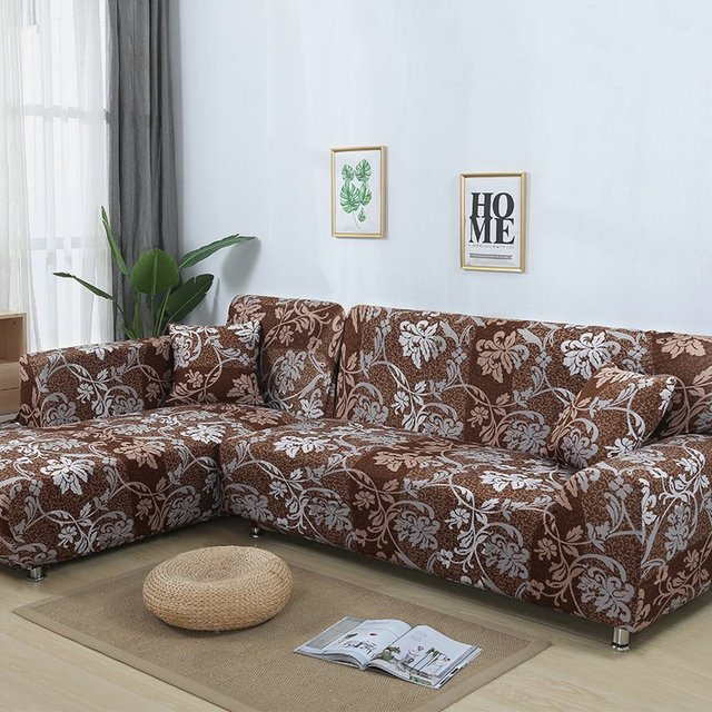 Living Room Chaise Lounge Covers Ideas With Brown Leather Couch 2 Pieces Cover For L Shaped Sofa Sectional Slipcover Elastic Stretch Corner European Style