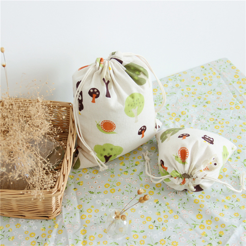Cute Tree Owl Pattern Drawstring Cotton Line Jewelry Gift Shopping Bags 3pcs Folding Shopping Cart Eco Grab Reusable Bag ...