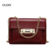 OLOEY Женская Ретро маленькая квадратная сумка текстура pu кожаная сумка новая цепь сумка через плечо сумка-мессенджер женская сумка на замке