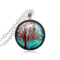 Red Tree Necklace Pendant Glass Dome Flower Jewelry Tree Of Life Necklaces India Jewelry Women Accessories
