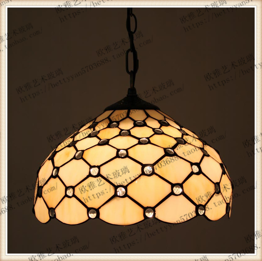 Tiffany Stained Glass Blue Ceiling Glass Lamps Mediterranean Style 20/30/40/50/60cm with E27 LED Chain Pendant Light LuminariasTiffany Stained Glass Blue Ceiling Glass Lamps Mediterranean Style 20/30/40/50/60cm with E27 LED Chain Pendant Light Luminarias